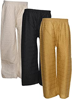 IndiWeaves Women's Cotton Palazzo - Pack of 3 (Multicolored)
