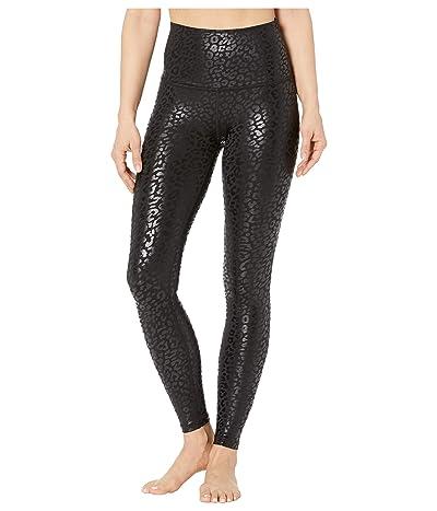 Beyond Yoga High Waisted Midi Leggings (Black/Shiny Black Leopard) Women