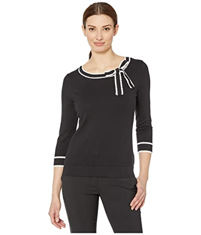 CeCe 3/4 Sleeve Sweater with Scallop Trim and Bow (Rich Black) Women