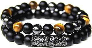 LAMAZEN Double Bracelet pour Hommes ou Femmes en Pierres Naturelles Œil de tigre, Onyx et Hématite, Bijou de Perles de 8m...