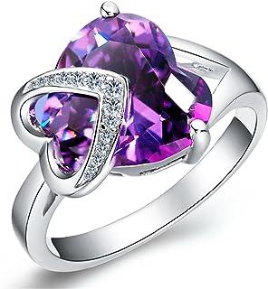 Uloveido الأزياء البلاتين مطلي الحب القلب الأرجواني مكعب زركونيا سوليتير الزفاف للنساء J130 (متوفر في حجم 6 7 8 9)