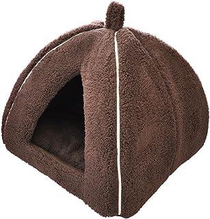 「プチリュバン」ブランドのペットベッド ペットハウス M ブラウン (ワンちゃん、イヌ、犬、ドッグ、ネコちゃん、猫、キャット用)