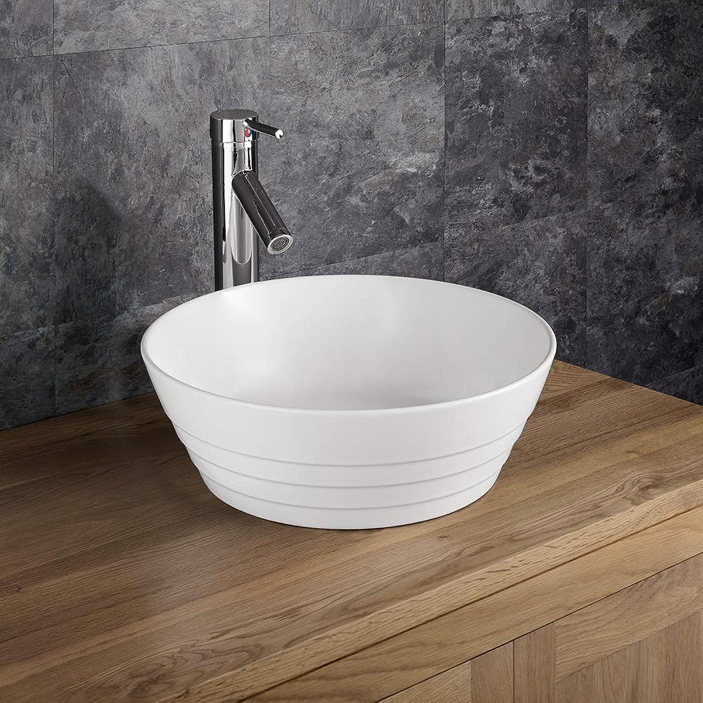 Clickbasin Round Ridged White Ceramic Above Counter Bathroom Bowl 385mm ASPRA