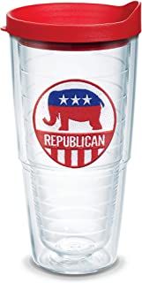 Tervis 1353799 Republican Insulated Tumbler with Emblem and Red Lid, 24oz, Clear