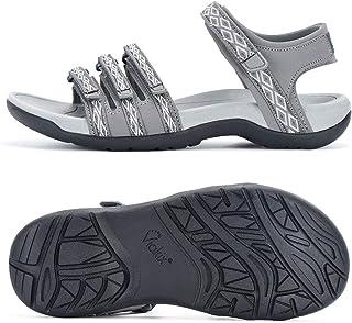 صندل نسائي للمشي لمسافات طويلة من Viakix - حذاء رياضي مريح وعصري للمشي في الهواء الطلق والرحلات المائية، رمادي 6