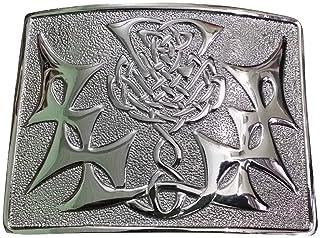 Scottish Kilt Belt Buckle Thistle knot Celtic Design Antique/Chrome/Jet Black Plated