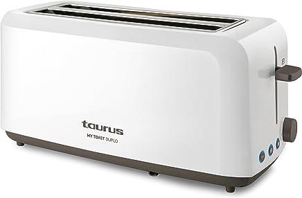 Taurus Mytoast Duplo-Tostadora (1450 W, Tres Funciones, iluminación LED), 0 Decibeles, Blanco