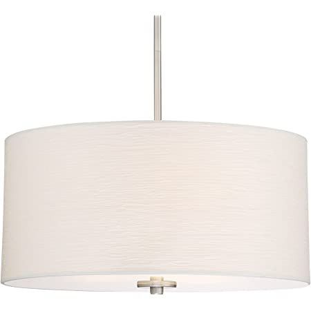 Kira Home Lindos 20 Modern 3 Light Double Drum Chandelier Glass Diffuser Stem Hung With Adjustable Height Brushed Nickel Finish