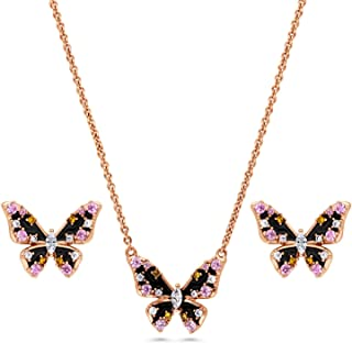 Rose Gold Flashed Sterling Silver Enamel Cubic Zirconia CZ Butterfly Fashion Necklace and Earrings Set
