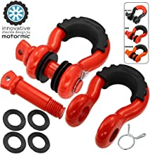 "motormic RED Special D Ring Shackles 2pc - 3/4 ""Clevis Shackle with 7/8"" Pin - Max 57،000 lbs Break Point - 2 عایق سیاه و 8 واشر سیاه - Dright Heavy Duty برای Tow Strap و Jeep Towing"