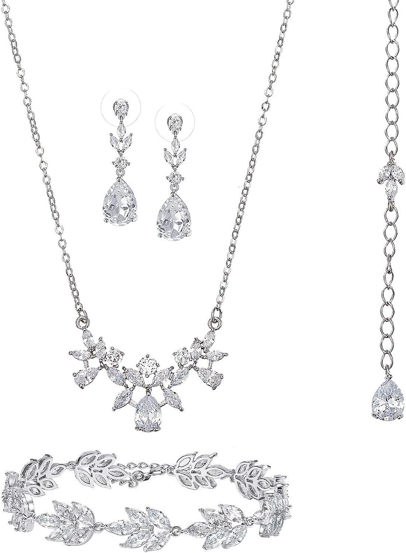 SWEETV Wedding Necklace Dangle Earrings Bracelet Set for Brides, Jewelry Set for Women,3Pcs