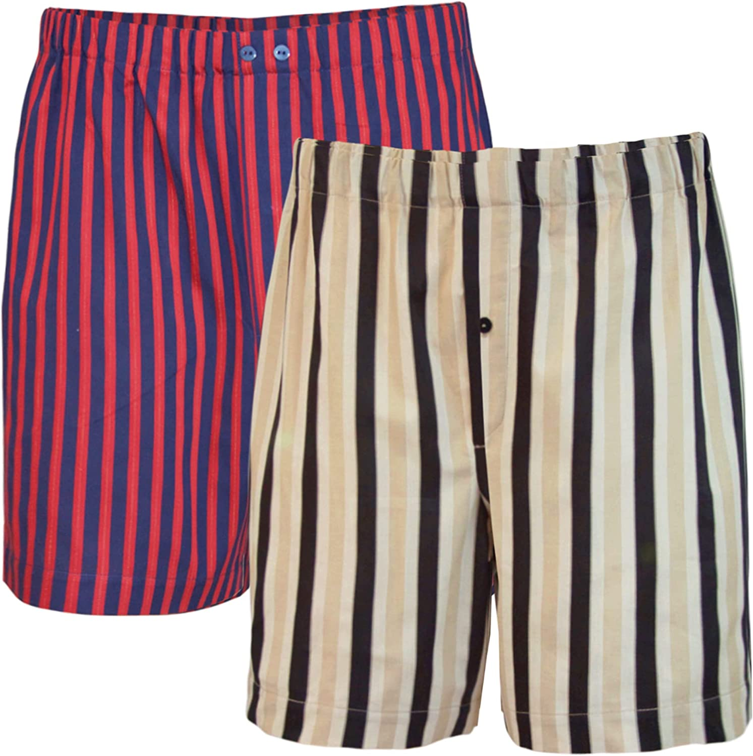 Mens Underwear 2-Pack Boxer Shorts Full Cut Striped Sateen Cotton Regular Fit - Crafted in Europe