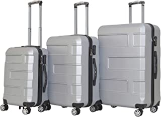 YINTON 3 Pieces Set Luggages with 4 spinner wheels - 20 x 24 x 28 inch (SILVER GREY)