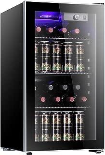 Antarctic Star 26 Bottle Wine Cooler/Cabinet BeverageRefrigerator Small Mini Red & White Wine Cellar Beer Soda Counter Top Bar Fridge Quiet Operation Compressor Adjust Temperature Freestanding Black