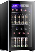 Antarctic Star 26 Bottle Wine Cooler/Cabinet Beverage Refrigerator Small Mini Red & White Wine Cellar Beer Soda Clear Fron...