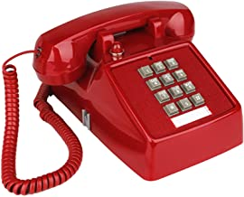 $34 » YOPAY Single Line Corded Desk Telephone, Home Emergency Intuition Amplified Retro Phone, Classic Dial Button Phone, Red
