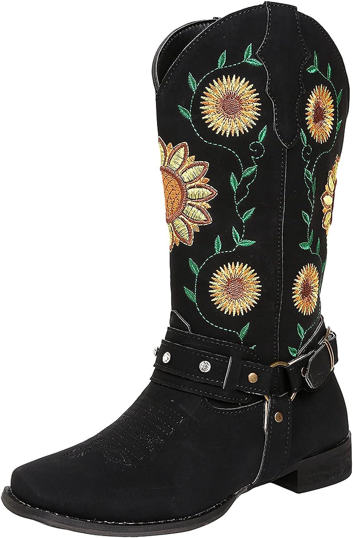 Boots For Women Low Heel Womens Lug Sole Platform Ankle Boots Elastic Chunky Block Heel Non-Slip Combat Comfortable Chelsea Booties