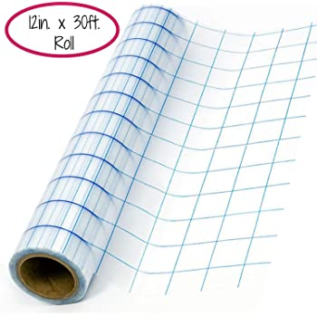 Expressions Vinyl - 12in. x 30ft. Blue-Gridlined Clear Transfer Tape Roll - Perfect Transfer Tape for Vinyl - Medium Tack Adhesive Application Tape Works Great with Oracal 651, 631 and Cricut Vinyl