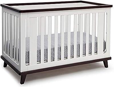 Delta Children Ava 3-in-1 Convertible Baby Crib, White/Black Espresso