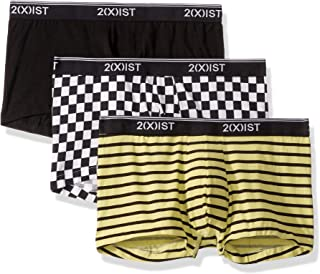 2(X) IST Men's Cotton Stretch 3 Pack No-Show Trunk, Check Black & White/Black/Stripe Lime Sherbet, Large