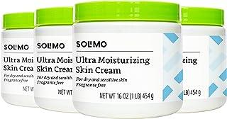 Amazon Brand - Solimo Ultra Moisturizing Skin Cream for Dry & Sensitive Skin, Dermatologist Tested, Fragrance Free, 16 Ounce (Pack of 4)
