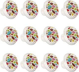 Boutons D'armoire 12 Pcs Poignés Poignée De Champignons Porte Poignées avec Vis pour Cabinet Tiroir Cuisine,Beignets vitré...