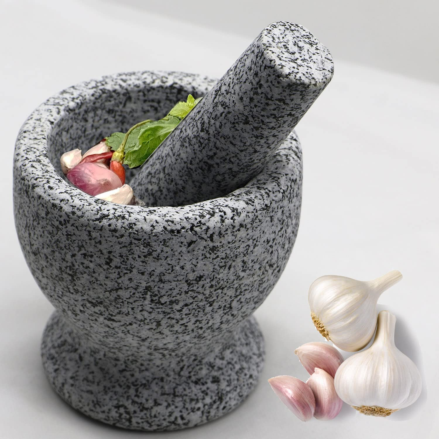 5 Inch 2 Cup-Capacity Ranking integrated 1st place New arrival Granite Mortar Set - Pestle One and