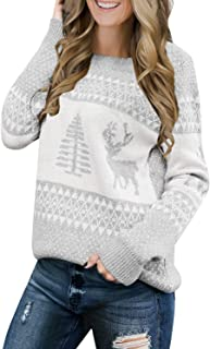 Lookbook Store Women Ugly Christmas Tree Reindeer Holiday Knit Sweater Pullover