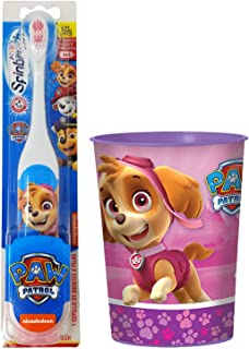 Paw Patrol Skye Toothbrush Set: 2 Items - Spinbrush Toothbrush, Pink Character Rinse Cup