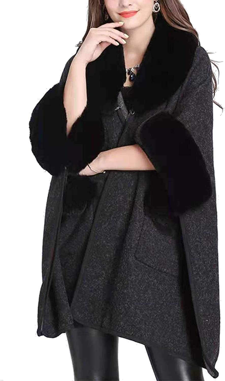 Iristide Women Poncho with Pocket Warm Cashmere Cardigan Cape with Rabbit Fur