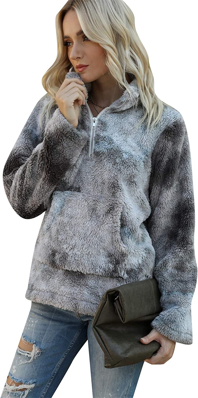 EFOFEI Womens Long Sleeves Fluffy Fleece Pullover Zip Up Hooded Sweatshirt Hoodie with Pockets