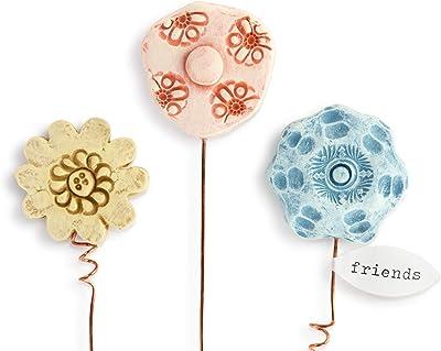 DEMDACO Pink Blue Yellow Friends Textured 8 inch Resin Decorative Artificial Flower Set