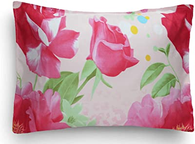 Home Candy Attractive 120 TC Microfibre Double Bedsheet with 2 Pillow Covers - Floral, Pink