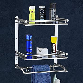 Plantex Deluxe High Grade Stainless Steel Multipurpose 3-Tier Bathroom Shelf with Towel Holder/Towel Hooks/Bathroom Accessories Wall-Mount (Silver)