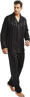 Mens Satin Long Button-Down Pajamas Set, Stripped PJ, S~4XL