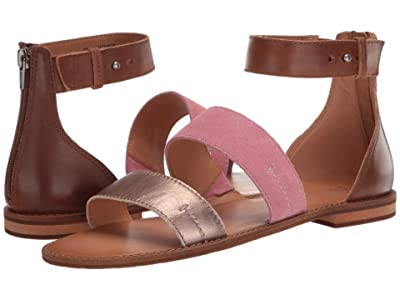 FRYE AND CO. Evie 2 Band Sandal (Watermelon Multi Metallic Full Grain/Suede) Women