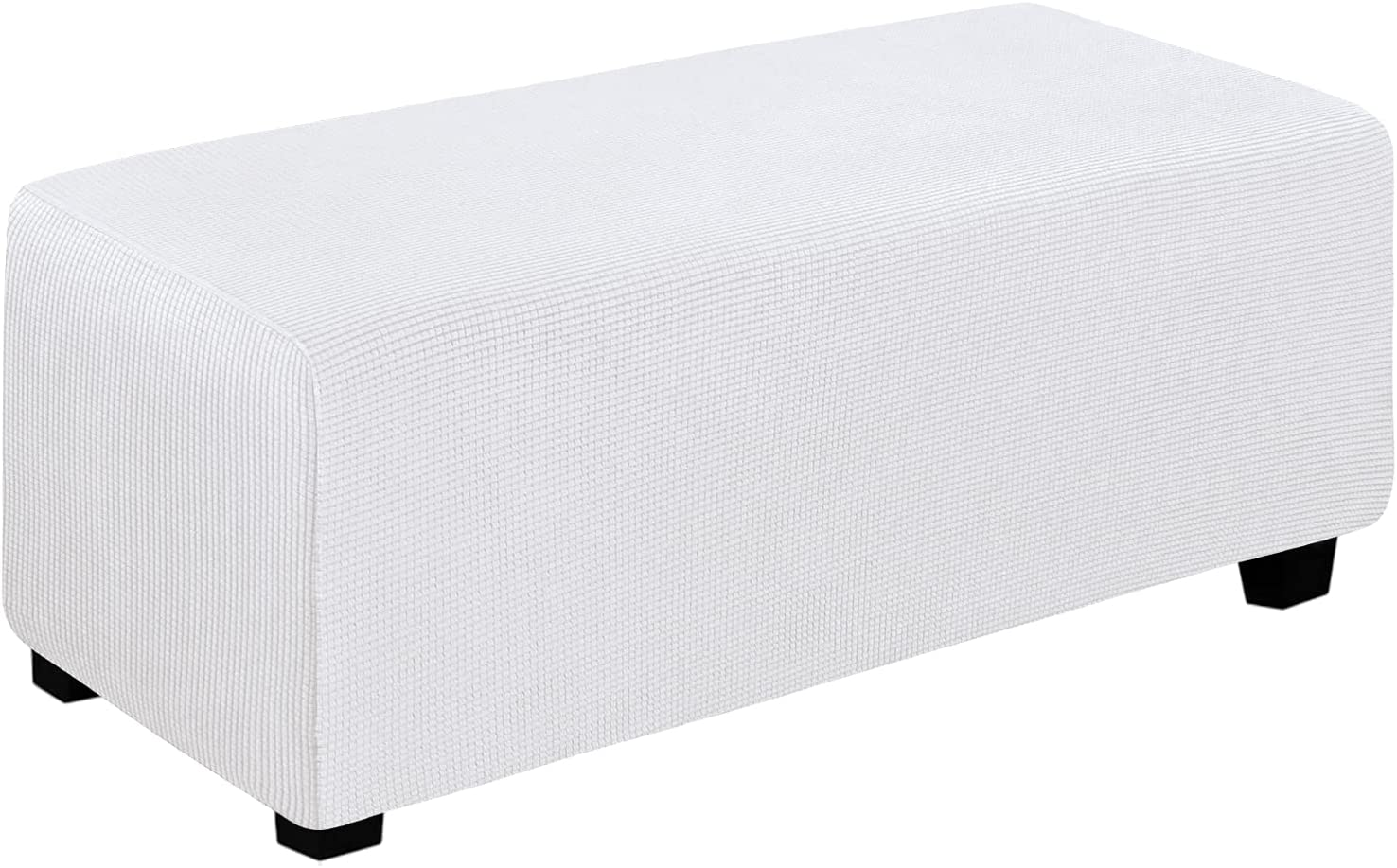Easy-Going Stretch Ottoman Cover Folding Storage Stool Furniture Protector Soft Rectangle slipcover with Elastic Bottom(Ottoman X-Large,Snow White)