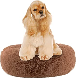Wewlink Donut Cushion Cat Bed & Dog Bed Ultra Soft Short Plush for Joint-Relief and Sleep Improvement , Calming Small Medi...