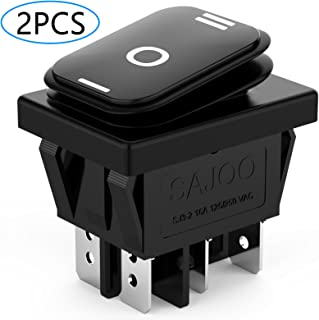 DIYhz 2Pcs AC 16A/250V 125V 3 Position ON/Off/ON Waterproof Toggle Wiring Boat Rocker Switch Black
