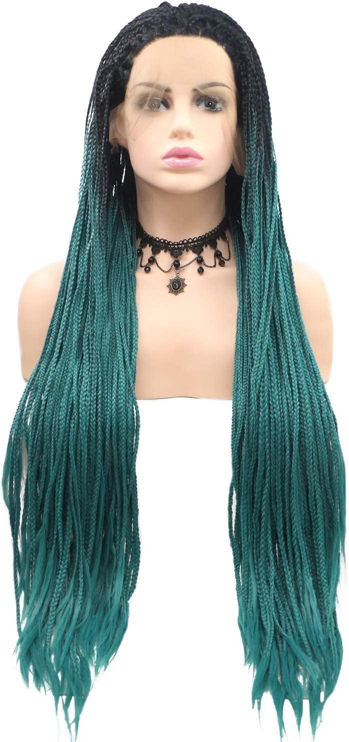 aihanbaihuodian Wigs Black-Green Gradient Braid La Direct store Long Wig Philadelphia Mall Hair