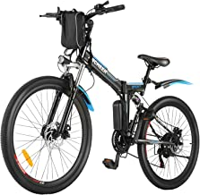 ANCHEER Folding Electric Mountain Bike, 26'' Electric Bike with 36V 8Ah Lithium-Ion Battery, Premium Full Suspension and 2...