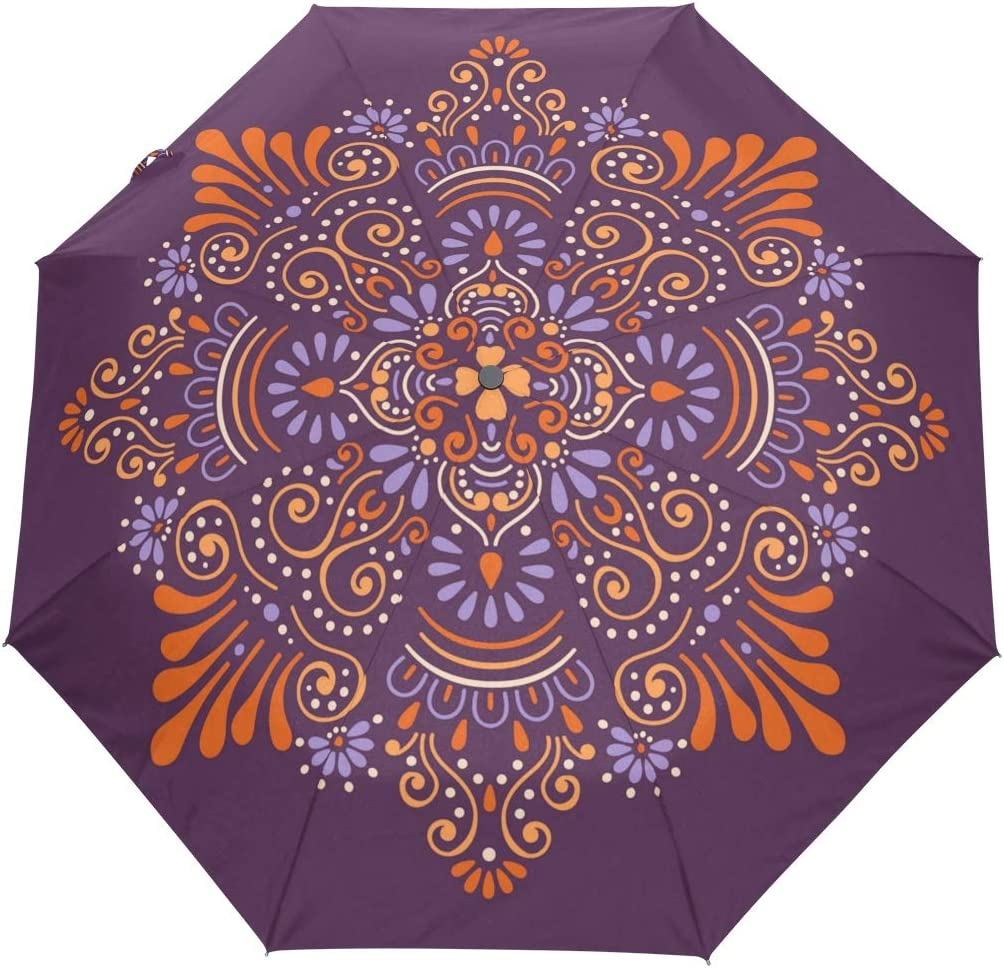 Mr.XZY Mandala Flowers Windproof Automatic Folding Travel Umbrella For Kids Pretty Pattern Compact Auto Open and Close Umbrella with UV Protection 2010010