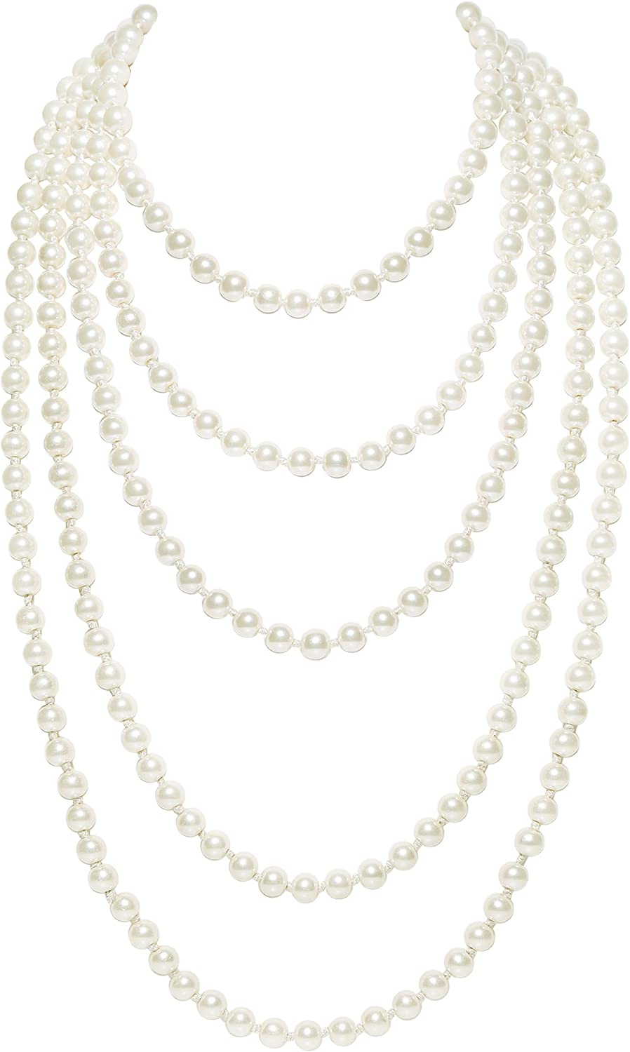 BABEYOND Vintage 1920s Gatsby Imitation Pearl Choker Necklace 20s Art Deco Flapper Accessories for Women White