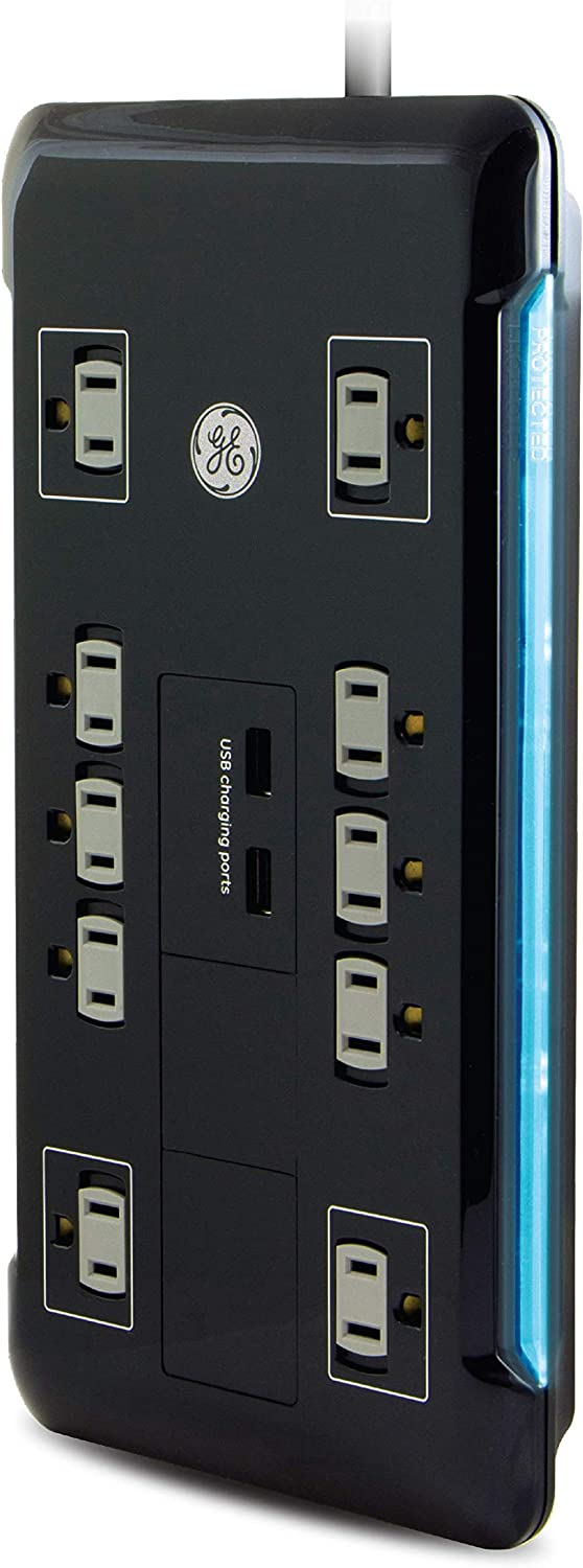 GE UltraPro 10 Outlet Surge Protector, 2 USB Ports, 4 Ft Power Cord, 2880 Joules, Flat Plug, Power Filter, Circuit Breaker, Warranty, UL Listed, Black, 34462