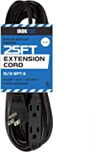 25 Ft Extension Cord with 3 Electrical Power Outlet - 16/3 Durable Black Cable - Great for Christmas Lights