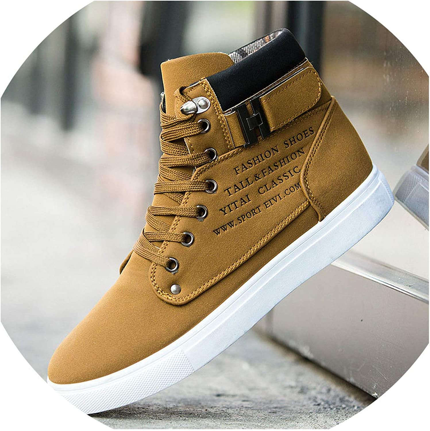 I'll NEVER BE HER Mens shoes Casual Faux Suede High Top Designer Sneakers Men Vintage British Big Size Fashion Spring Men's Casual shoes