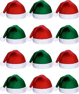 SATINIOR 12 Pieces Santa Hats Christmas Non Woven Fabric Hat for Holidays Xmas Party Supplies