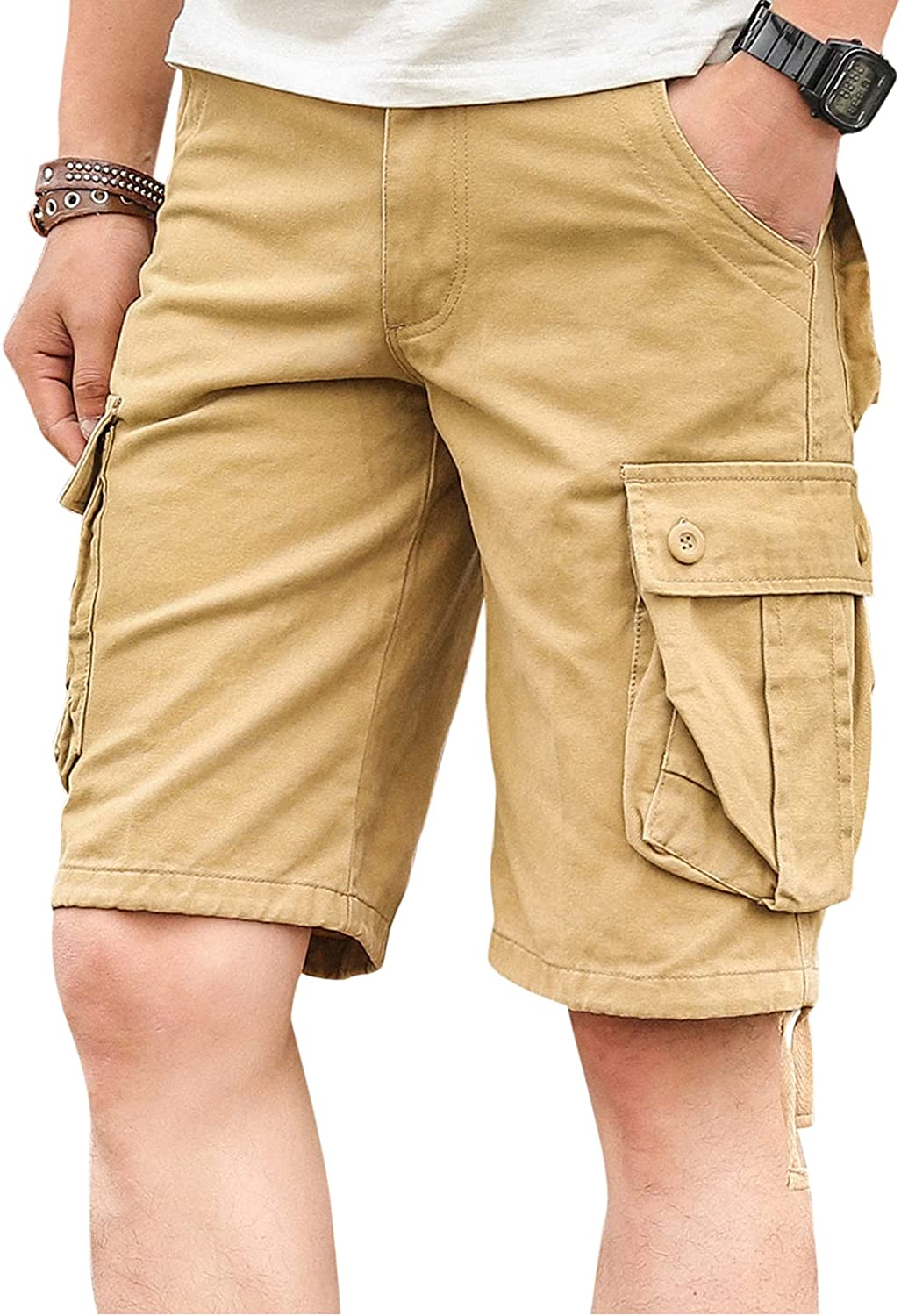 jambeau Men Cargo Shorts Relaxed Fit Multi Pockets Twill Camouflage Outdoor Casual Shorts