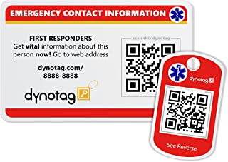 Dynotag Web Enabled Smart Medical ID and Emergency Contact Information Card Kit with DynoIQ & Lifetime Service. Wallet & Keychain cards.