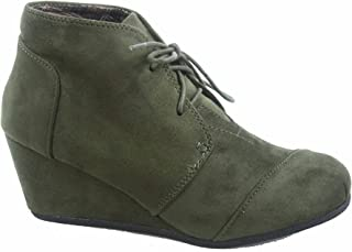 Forever Link Patricia-1 Women's Casual Oxford Ankle Booties Lace up Low Wedge Shoes